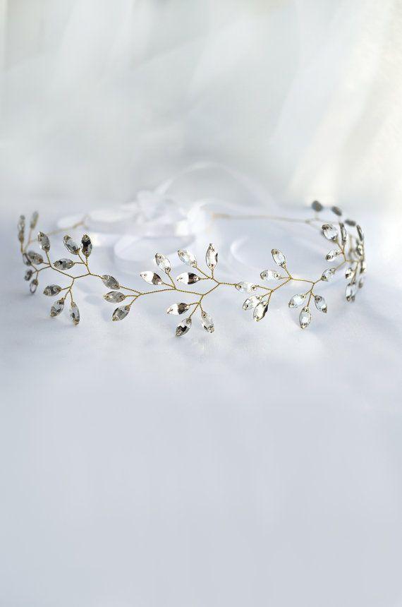 diadema nupcial casco de cristal tiara cristalina por MarinaUA