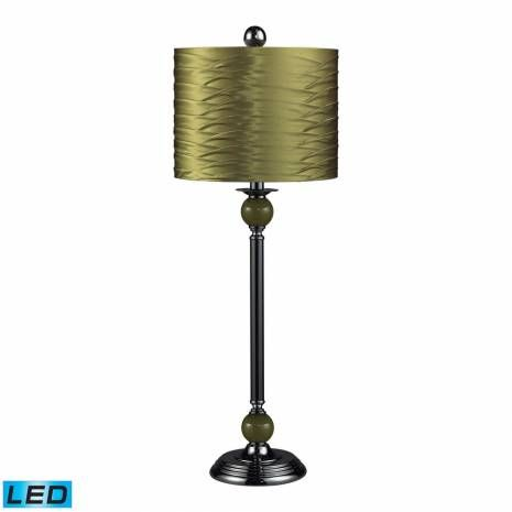 Transitional Green LED Buffet Lamp in Black Nickel With Pleated Shade