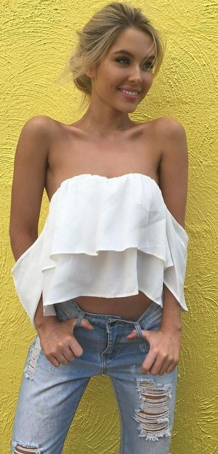 White Off The Shoulder Top + Jeans                                                                             Source