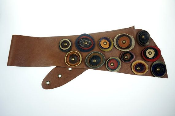 Womans Wide Leather Belt Asymmetrical/Tan by NeroliHandbags