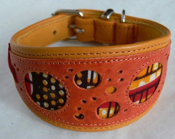 www.cewax.fr aime ce collier pour chien en cuir vachette orange fait main en France et tissu africain wax par Cuir de Persac