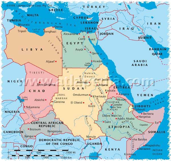 Image result for map of north africa showing sudan and libya and ethiopia""