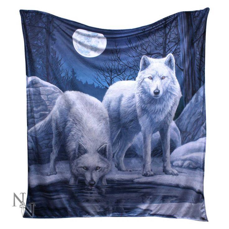 Warriors of Winter - Witte wolven met maan deken, plaid multicolours