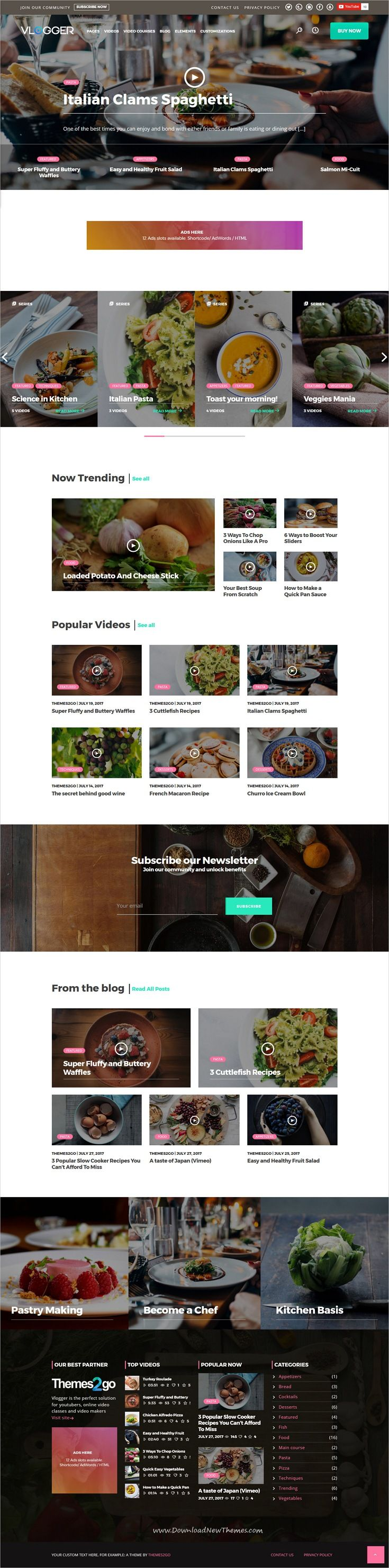 Vlogger is clean and modern design 4in1 responsive #WordPress theme for #food / #recipe #vblogger professional video, tutorials, online courses and video blogs website download now..