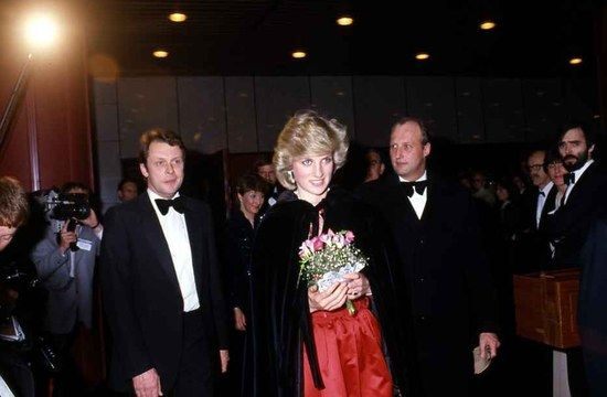 February 11, 1984: HRH Diana, Princess of Wales at the London City Ballet performing in Oslo Norway. It was her first solo trip.