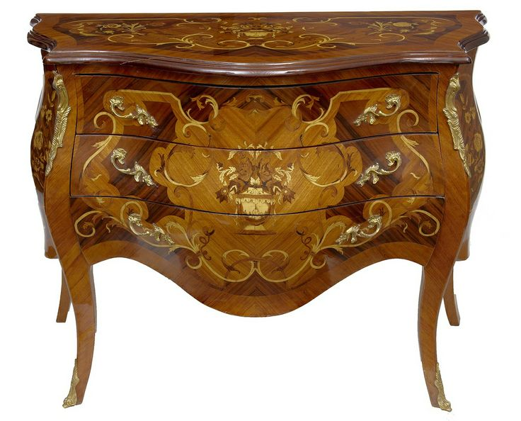 Louis XV Bombe Inlay Commode Chest Drawers