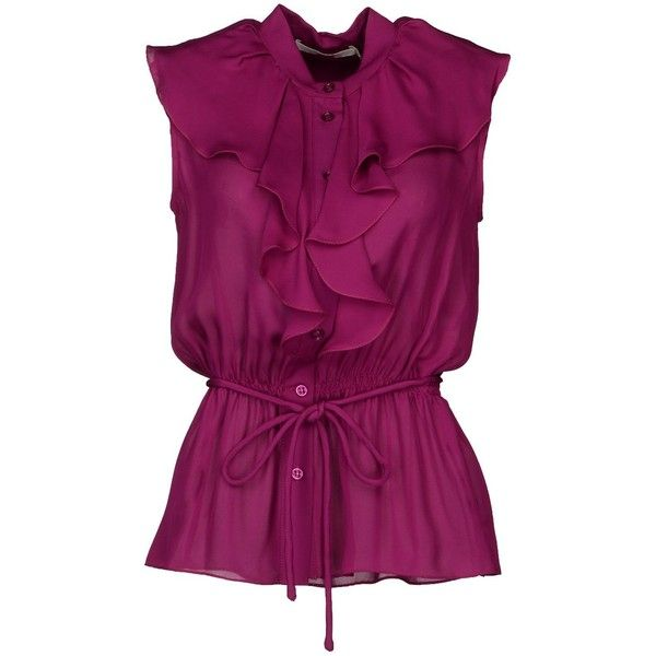 BGN Shirts (91 AUD) ❤ liked on Polyvore featuring tops, blouses, shirts, blusas, mauve, purple sleeveless top, no sleeve shirt, purple shirt, chiffon tops and chiffon shirt