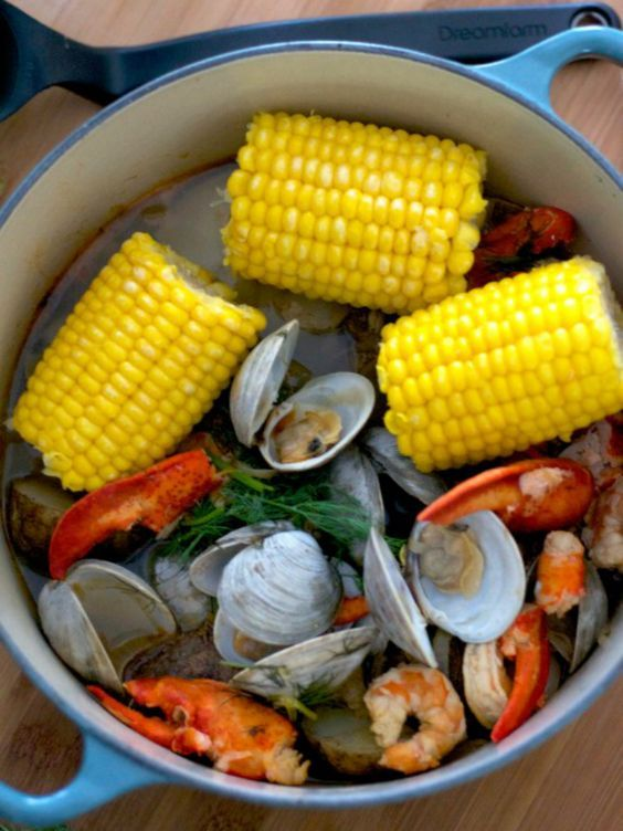 There's no digging required to create this fresh, easy, and seafood-filled One Pot New England Clam Bake right on your own stove.: