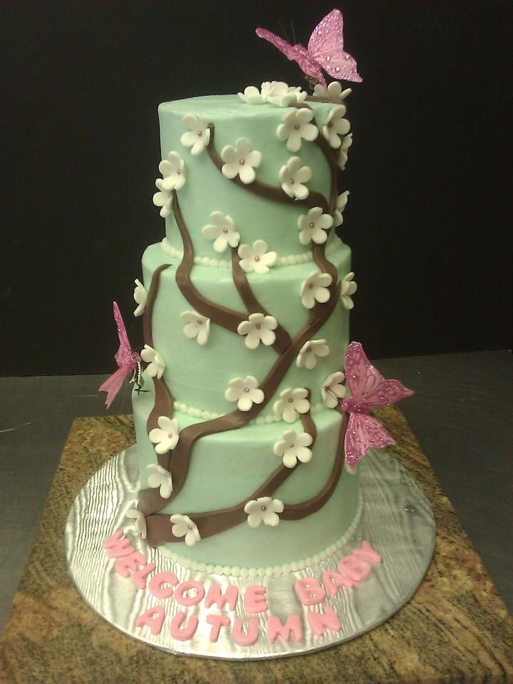 CC's Sweet Sensations Wedding and Party cakes and Chocolate Fountains  Cherry Blossom baby shower cake