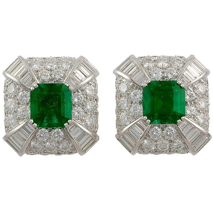 David Webb Emerald Diamond Ear Clips | From a unique collection of vintage clip-on earrings at https://www.1stdibs.com/jewelry/earrings/clip-on-earrings/
