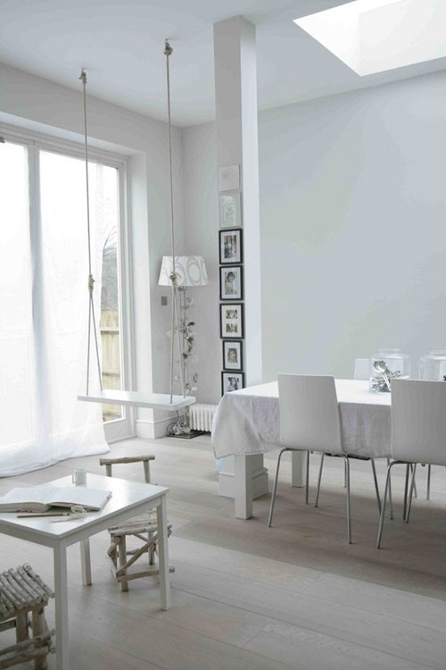 PnS post: White on WhiteModern Interiors Design, Dining Room, Chairs Swings, Livingroom, Indoor Swings, Living Room, Plays Spaces, House, White Room
