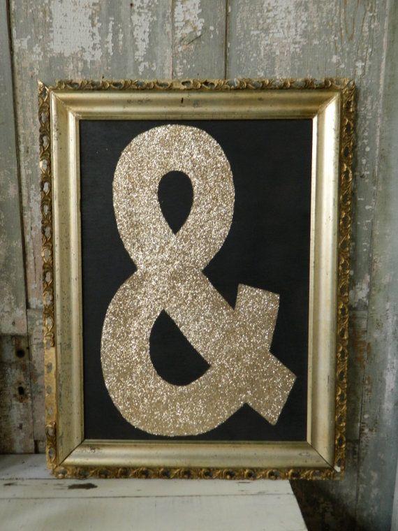 Ampersand glitter art by hatchettdesigns on etsy for Ampersand decoration etsy