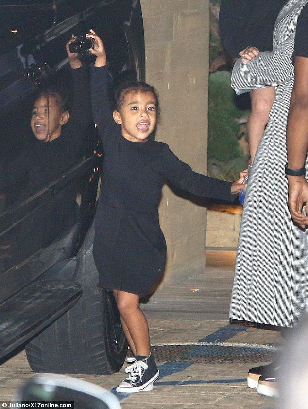 Super sweet: North West stole the show during a family outing in Malibu on Thursday night, where she joined her cousins Penelope and Mason, uncle Scott Disick and showbiz matriarch Kris Jenner