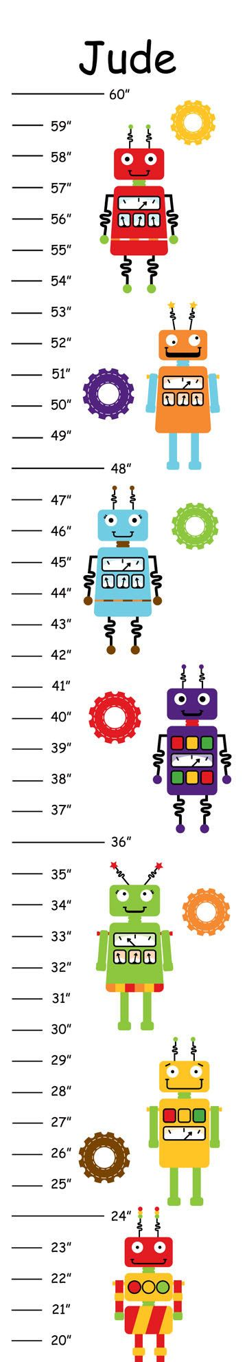 Personalized Robot Canvas Growth Chart by 123growwithme on Etsy, $20.00