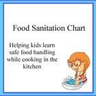 Food safety and sanitation chart to help kids learn safe food handling while cooking in the kitchen.