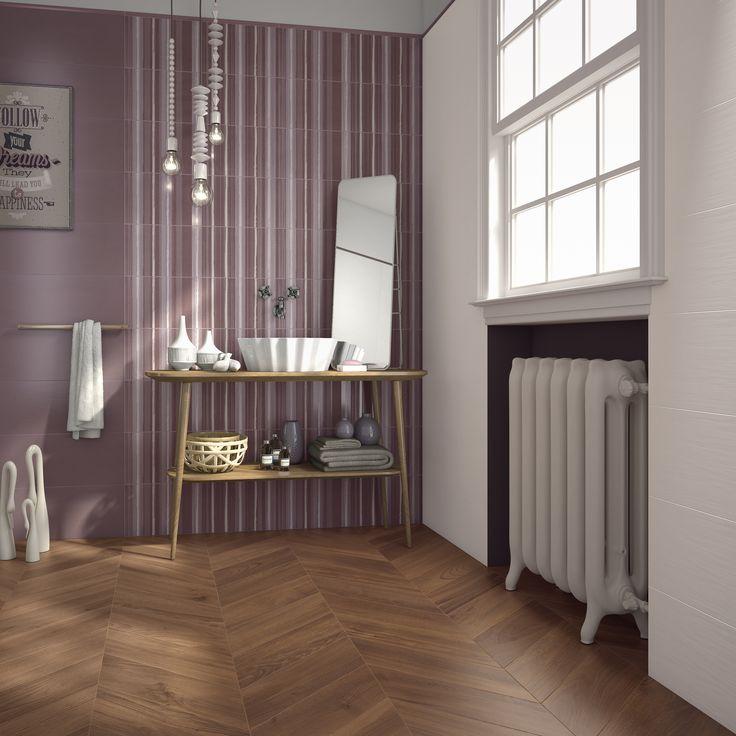 Bagno realizzato con il colore Charme , decoro Plissé della nostra collezione Model http://www.supergres.com/your-home/bagno/item/926-model #Bathroom #RivestimentoBagni #WallTiles #CeramisOfItaly