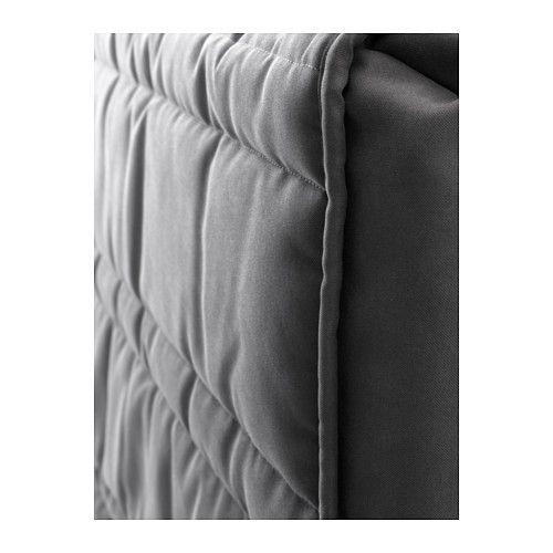 IKEA - ОППЛАНД, Изголовье, Для тех, кто любит почитать или посмотреть телевизор сидя в постели, мягкое и удобное изголовье кровати станет несомненным преимуществом.Легко поддерживать в чистоте, так как съемный чехол можно стирать в машине.Благодаря отделке из шпона кровать со временем будет выглядеть только лучше.Регулируемые боковины кровати позволяют использовать матрасы разной толщины.