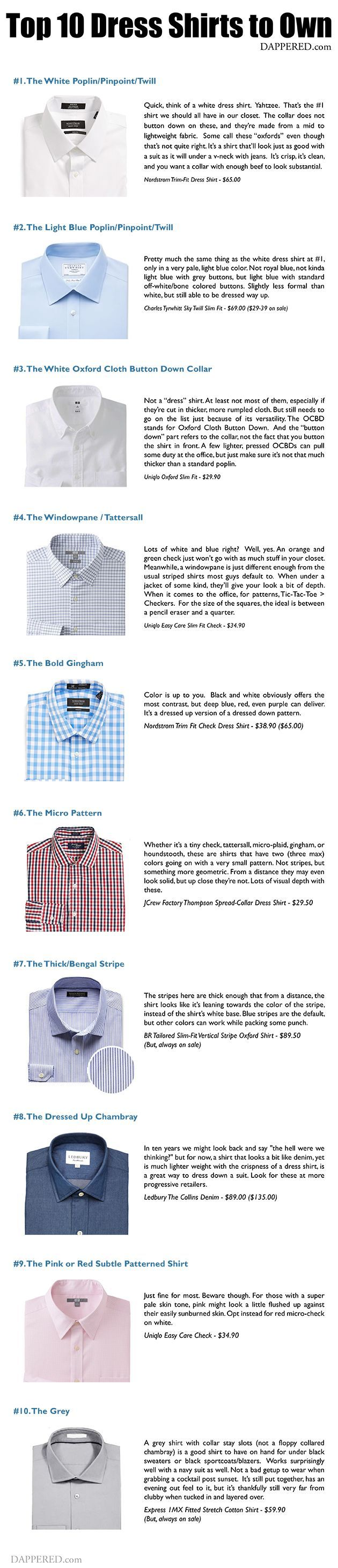 Types of Dress Shirts #infografía