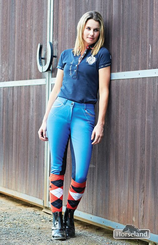 Cassie Lowe wears Euro-Star famke polo RRP $79.95, Euro-Star nohra full seat breech RRP $299.95, Euro-Star argyle socks RRP $19.95