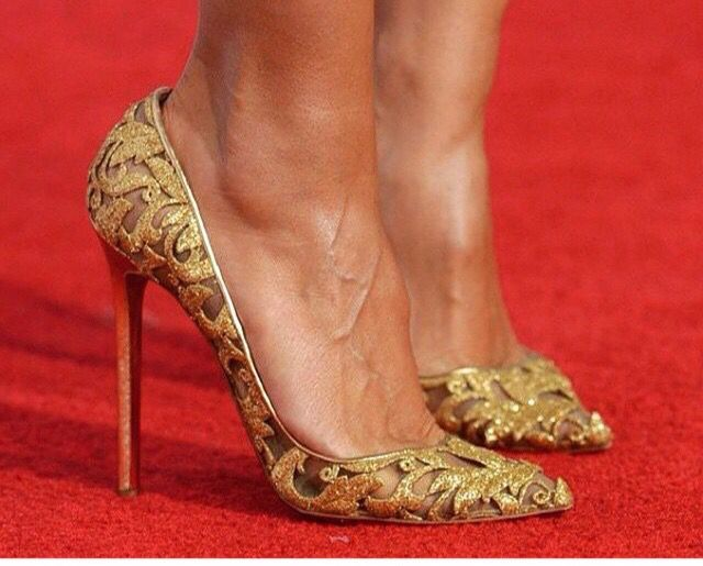 Gold Embroidered Pointy-toe Pumps by Christian Louboutin for Alexandre Vauthier Couture