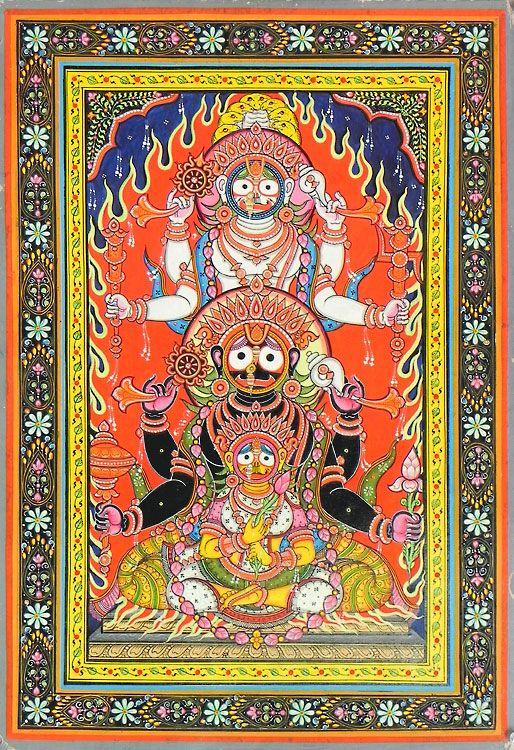 Jagannath, Balaram and Subhadra (Orissa Paata Painting on Canvas - Unframed))