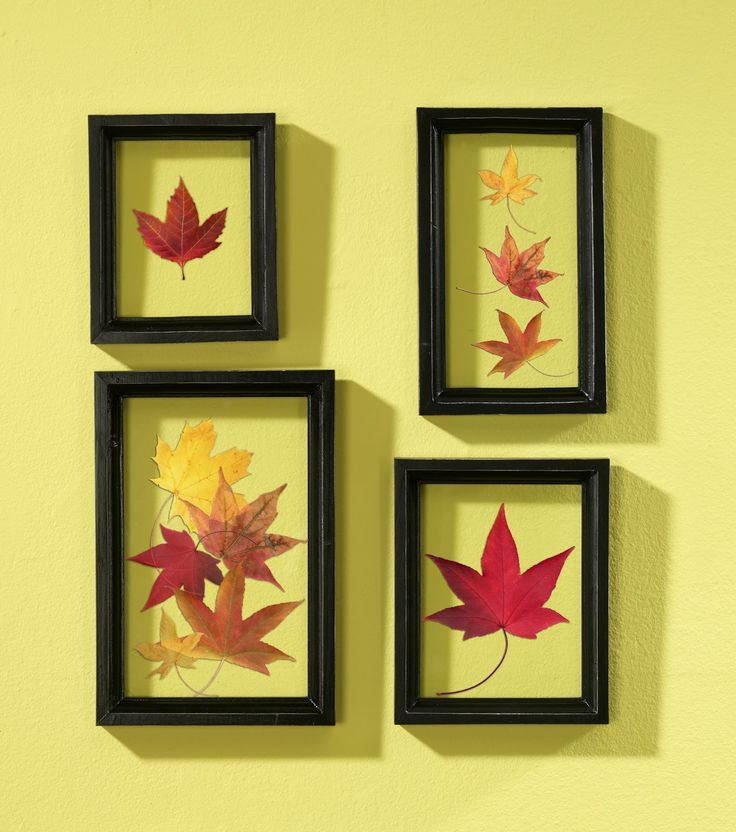 Capture the essence of a fall day by grabbing a few colorful leaves & Modge Podging them to a glass for instant decor!