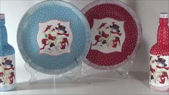 Christmas dishes and bottles Youtube Neli's crafty life