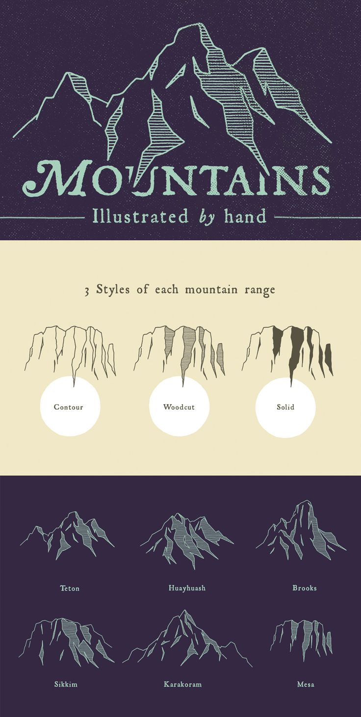 Cool idea for a mountain range - especially like the difference between outline, woodcut, and solid