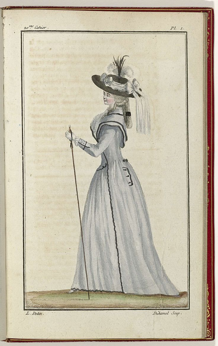 Cabinet des Modes ou les Modes Nouvelles, 1 Septembre 1786, pl. I, A.B. Duhamel, L, Buisson, 1786