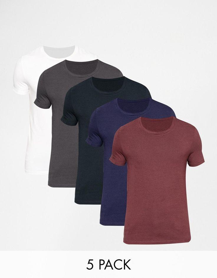 Muskelshirt T-Shirt von ASOS sehr elastischer Jerseystoff Rundhalsausschnitt eng geschnittene Ärmel sitzt eng am Körper superenge Passform Maschinenwäsche 94% Baumwolle, 6% Elastan Model trägt Größe M und ist 188 cm/6 Fuß 2 Zoll groß Fünferpack