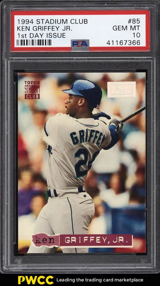 0d962fc636 1994 Stadium Club 1st Day Issue Ken Griffey Jr. #85 PSA 10 GEM MINT (PWCC)  #PSA10 #sportscards #collecting
