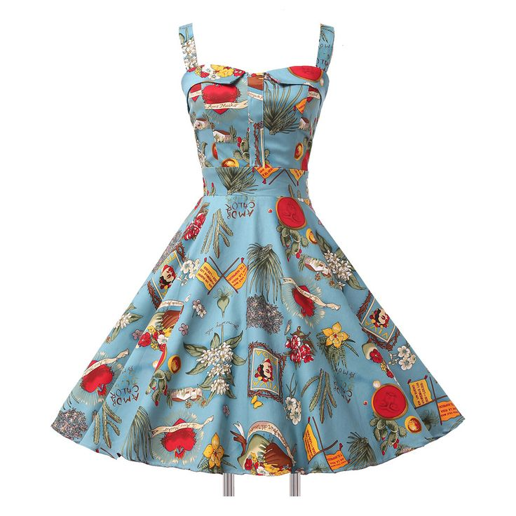 =>quality productLadies Cotton robe Rockabilly Womens Summer style Dresses pin up Retro Vintage 50s Audrey Hepburn Swing print Casual clothing-in Dresses from Women's Clothing