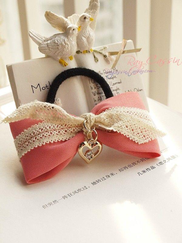 金属心型钻扣 蕾丝蝴蝶结头绳