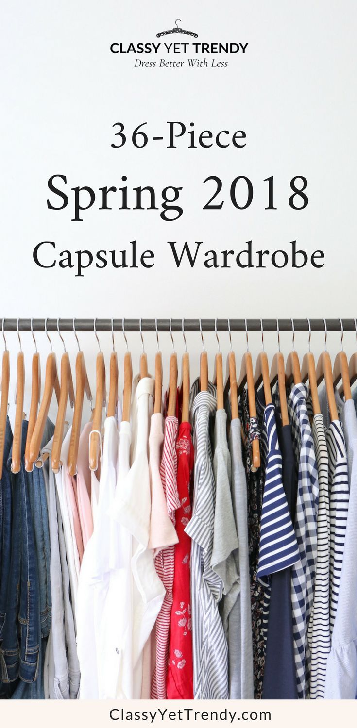 My Spring 2018 Capsule Wardrobe - see all the clothes and shoes in my closet with tops such as a tee, cami, blouse, striped top, ruffle sleeve top, layers like a denim jacket, utility jacket and cardigan, bottoms like jeans and skirt, along with sneakers, mules, flats and booties.