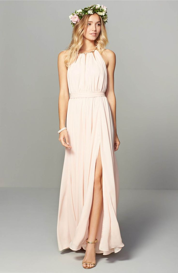 Main Image - Lulus Gold Metallic Halter Neck Chiffon Gown $158 pretty flowy