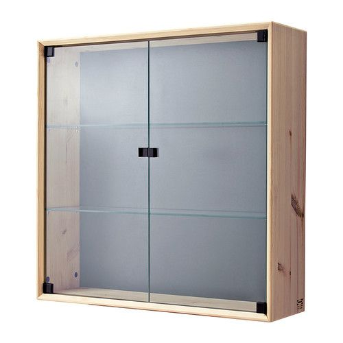 IKEA - NORNÄS, Glass-door wall cabinet, , Untreated solid pine is a durable natural material that can be painted, oiled or stained according to preference.</t><t>Panel/glass doors provide dust-free storage and let you hide or display things according to your needs.