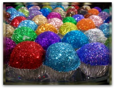 Edible Glitter! Sprinkle on cupcakes, cookies, cakes, pies, pastries, donuts...what you wish! Mix 1/4 cup sugar & 1/2 teaspoon of liquid food coloring, put in oven for 10 mins.