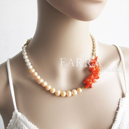 Coral nacklace wedding jewelry bridesmaid necklace by FARRAwedding,   www.farrawedding.etsy.com
