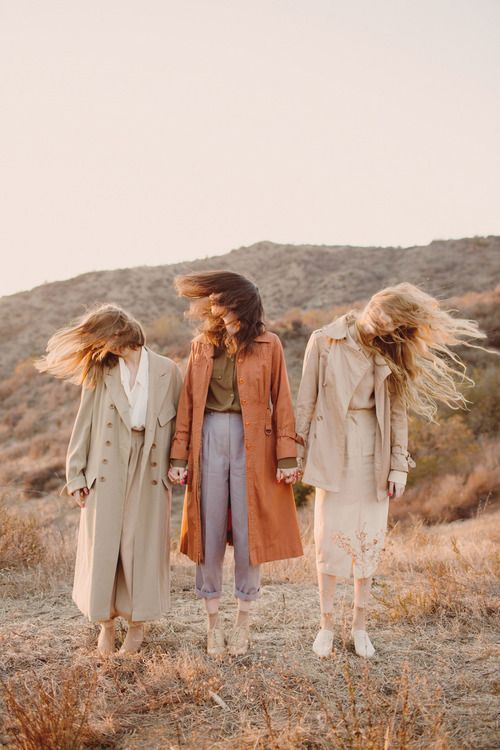 Soft pastel hues photographed at sunset, golden hours. Women's fashion.