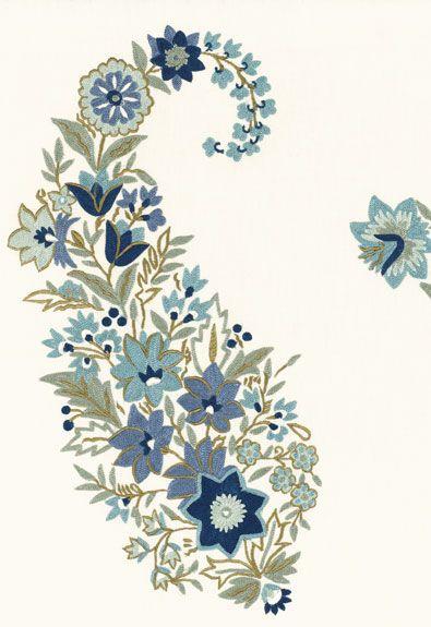 54102 Radclyffe Paisley Aqua by F Schumacher Fabric