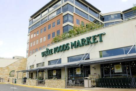 Whole Foods Headquarters at 5th and Lamar is located above the company's flagship grocery store. Whole Foods features natural and organic foods and is a great place to grab a quick lunch. There's a salad bar, pizza bar, cappucino bar, sushi bar, pasta bar, dessert bar, and chocolate fountain. Dine al fresco on the second-floor terrace. If this seems overwhelming, visit the concierge. Honestly, there's a concierge.