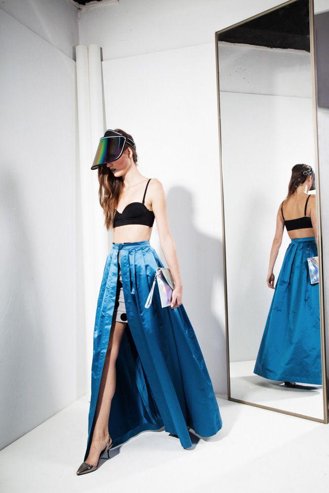 90s style Blue Taffeta Skirt 591zł / 170$  100% Silk