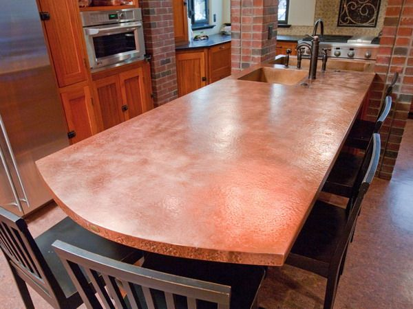 Lovely Hammered Copper Sheeting Countertop! So Excited!