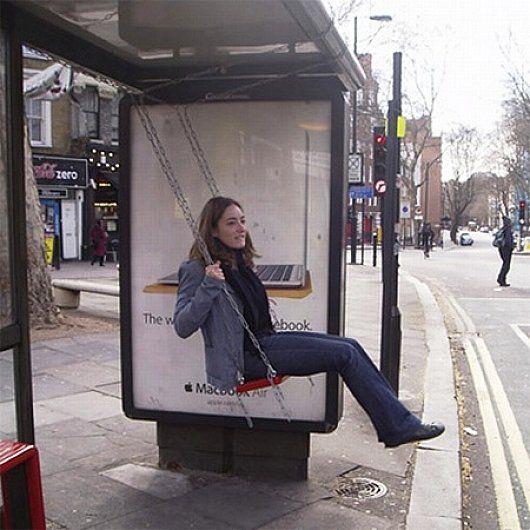 Urban furniture waiting passengers