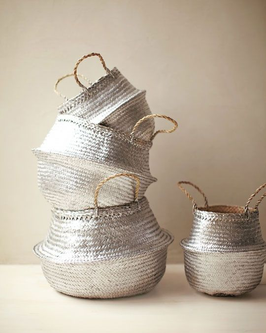 metallic spray painted baskets. I think this is going to be a great way to store extra baby toys around the house...and I always see really cheap baskets at thrift stores