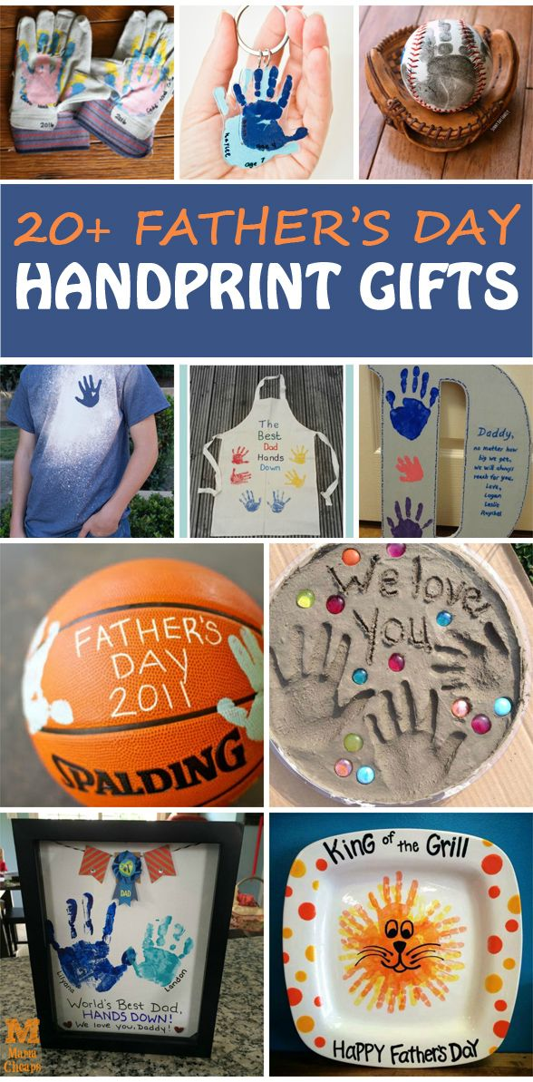 20+ Father's Day handprint gifts for kids to make. Dad will love each of these handmade gifts. Fun Father's Day crafts that can also be used for grandfathers. | at Non-Toy Gifts
