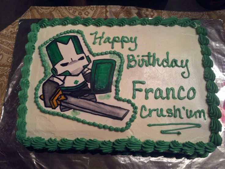 Castle Crashers   Cake I made for my nephews 4th birthday.  Glad he loved it, I'd never even heard of them until the day before. Hand drawn on sugar sheet. With food markers. Pinapple Cake with pinapple filling. I guess thats a favorite, around here.