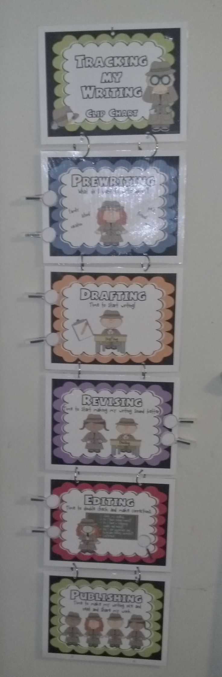 """$2 """"Tracking My Writing"""" Clip Chart (Detective Theme Writing Process Student Interactive Posters) Students and teachers will use this cute detective theme tracking chart to keep track of where everyone is in the writing process. Each resource poster has a brief description of the step, along with visuals for young writers."""
