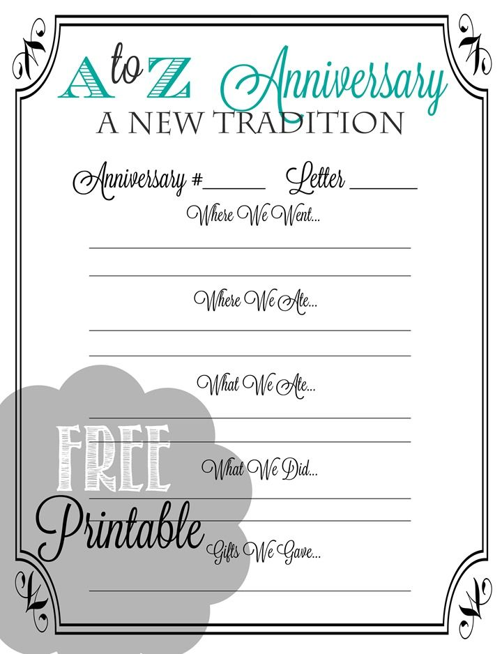 A to Z Anniversary Printable - A fun new way to celebrate your wedding anniversary!