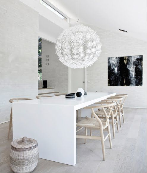 Ball In The Air: Wishbone Chairs, Dining Rooms, Dining Area, Lights Fixtures, Interiors Design, Norms Architects, White Interiors, Interiors Ideas, Design Offices